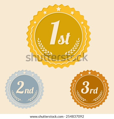 Various awards icons for winners flat design  - stock vector