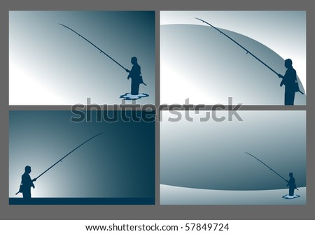 various backgrounds - silhouette of a fisherman - stock vector