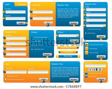 Various blue and orange website form set - stock vector
