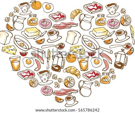 Various breakfast foods arranged in heart shape - stock vector