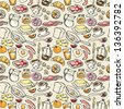 Various Breakfast items seamless vector pattern - stock