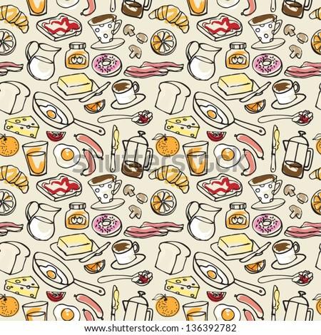 Various Breakfast items seamless vector pattern - stock vector