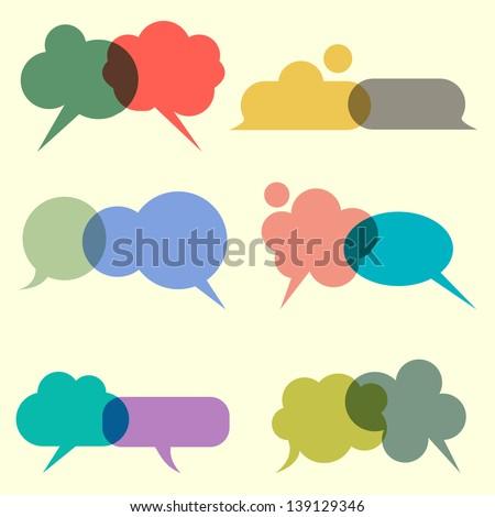 Various bubbles for speech. Vector set - stock vector