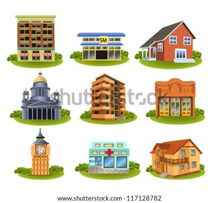 various buildings - stock vector