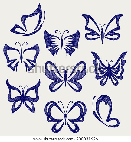 Various butterflies. Doodle style - stock vector