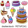 Various cakes collection 1 - vector illustration. - stock photo
