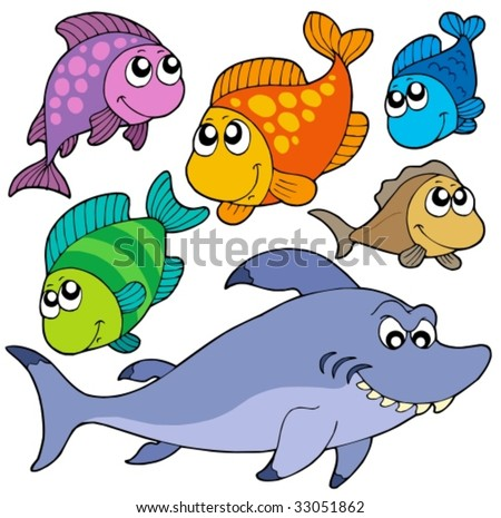 Various cartoon fishes collection - vector illustration. - stock vector