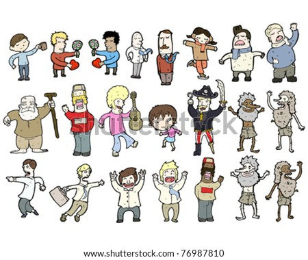 various cartoon people collection - stock vector