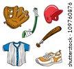 Various cartoon sports equipment illustration - stock vector