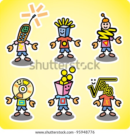 Various characters about kids and teenager life. Set of nine different ones - stock vector