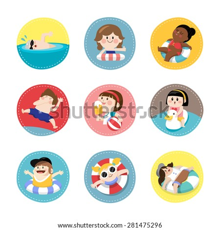 Various children playing in the swimming pool or sea during summer vacation. - stock vector
