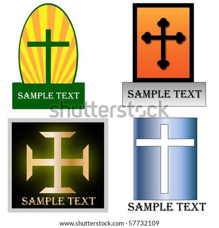 Various christian cross logos - stock vector