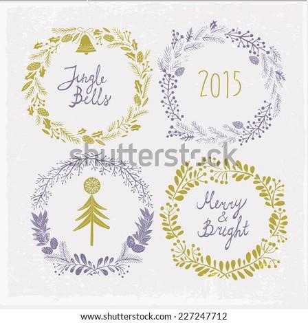 Various Christmas festive greetings - stock vector