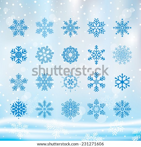Various Christmas snowflakes set with winter background. - stock vector