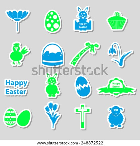 various color Easter stickers set with shadow eps10 - stock vector