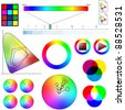 Various color related charts for a teaching or a scientific use. - stock photo