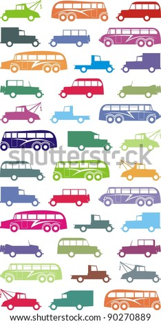 Various color vintage cars and buses silhouettes - vector cartoon illustration set - stock vector