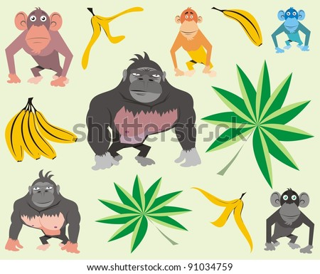Various colorful apes and monkeys - vector cartoon illustration set - stock vector