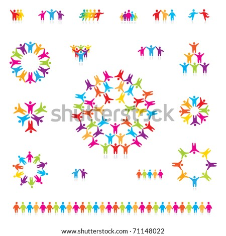 Various colorful set of icons - successful team. For your designs - stock vector