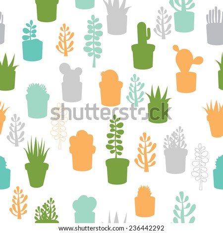 Various colorful succulent flowers mix seamless pattern - stock vector