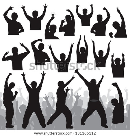 Crowd People Silhouette Sports Vector amp Photo  Bigstock