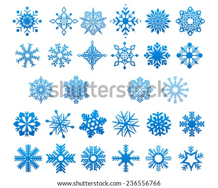 Various cool blue snowflakes set isolated on white for New Year and Christmas design - stock vector