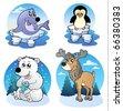 Various cute winter animals - vector illustration. - stock vector