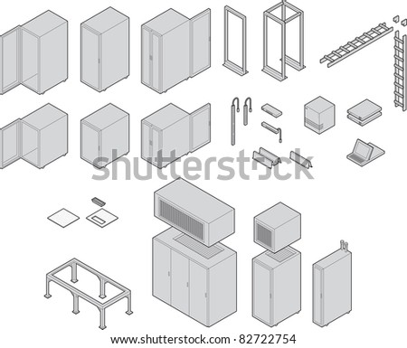 Various datacenter equipment. Drawn at isometric angle. All have closed paths with color fills linked to a global swatch for easy color changes. Strokes left as paths for easy editing. - stock vector