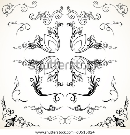 Various elegance rule lines and corners-vector decorative elements for your design - stock vector