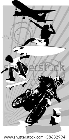 Various extreme sports on a gray background (vector illustration) - stock vector