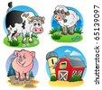 Various farm animals 1 - vector illustration. - stock vector