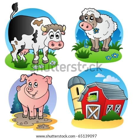 Various farm animals 1 - vector illustration. - stock vector