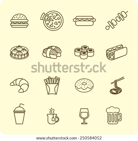 Various fast food and drink icon lined set - stock vector