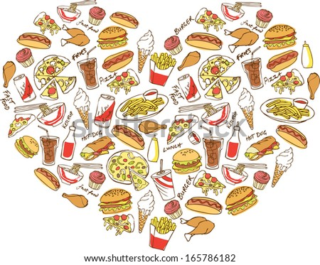 Various fast foods arranged in heart shape - stock vector