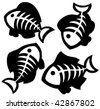 Various fishbones collection - vector illustration. - stock vector