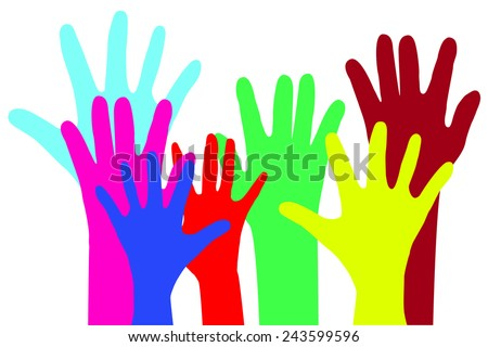various flapping hands, isolated on white
