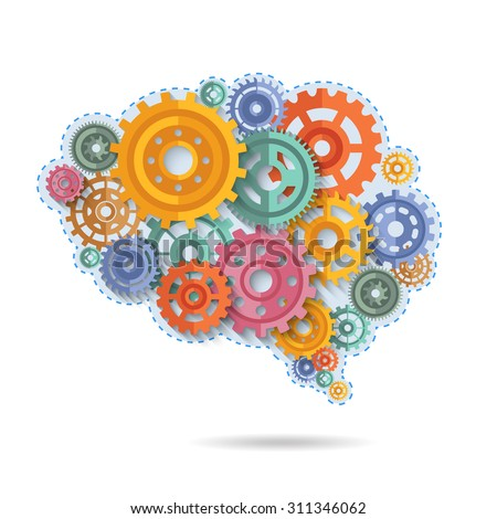 Various flat style color gears in shape of brain concept vector illustration - stock vector