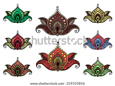 Various floral paisley elements set - stock vector