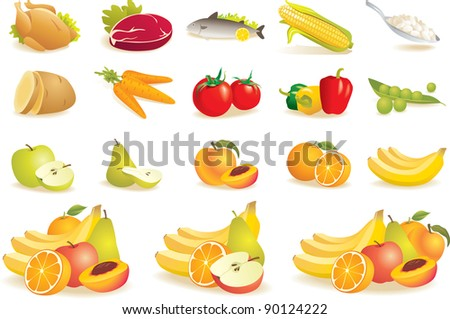 Various food icons set - fruit, vegetables, meat, corn. Vector illustration - stock vector