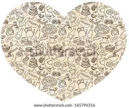 Various food items arranged in heart shape