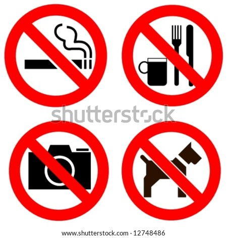 various forbidden signs