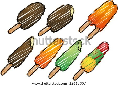 Various frozen ice cream treats, retro hand-drawn illustration - stock vector