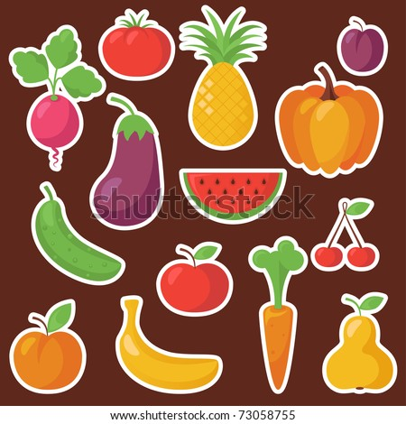 Various Fruits and Vegetables - stock vector