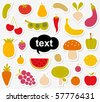 Various Fruits and Vegetables sticker - stock vector
