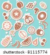 Various Fruits and Vegetables sticker or background - stock vector