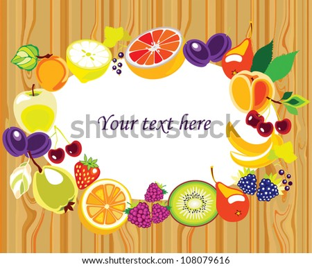 Various Fruits border - vector illustration on wood background