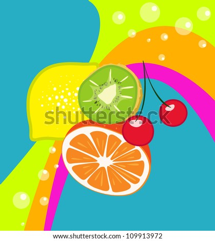 various fruits- vector illustration - stock vector