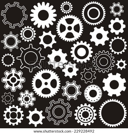 Various gear wheel collection white vector silhouettes