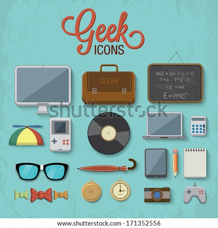 Various geek icons. Vector illustration - stock vector
