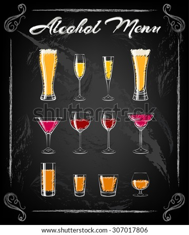 various glasses chalkbord. glasses for cocktails, wine, vodka, beer and water. everything for the bar and pub. - stock vector
